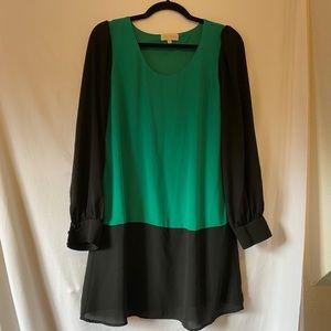 My Michelle Black & Green Shift Dress